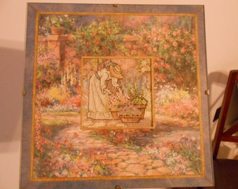 Hand-Embroidered Garden Decorative Picture--Ready to Hang