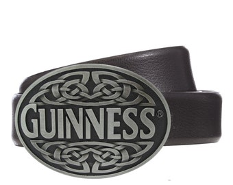 GUINNESS Irish Stout Beer Metal Antique Silver Finish Belt Buckle
