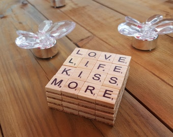 4 Handmade Wooden Scrabble Coasters- Choose your own set.