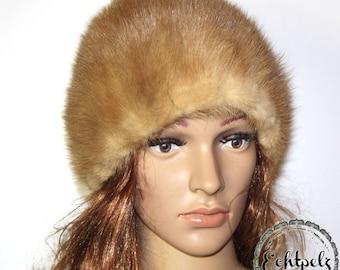 Vintage fur hat real fur hat mink mink Hat Cap fur has Gr.M light brown