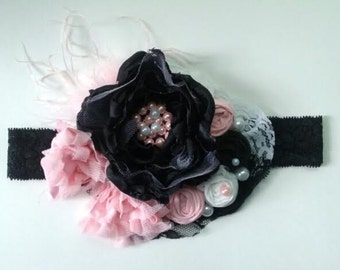 Black and Pink Lace Headband - black and pink headband - pink and black headband - pink and black shabby chic headband - baby girls headband