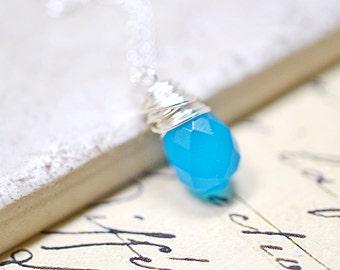 Caribbean Blue Teardrop Necklace, Cerulean Blue Glass Wire Wrap Briolette Pendant, Sterling Silver Chain