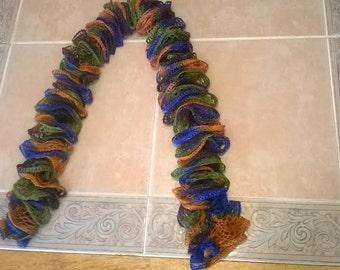 Autumn themed ruffled scarf