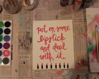 """7.5""""x9"""" Watercolor Print - """"Lipstick"""""""