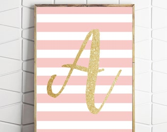 Avpink print, A monogram printable, monogram printable art, monogram wall art, digital download A, letter A art print, letter A