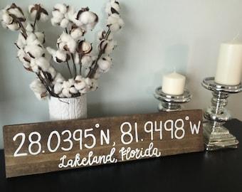Latitude Longitude - Wooden Sign - Wedding / Home Decor