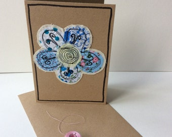 Applique card with free motion embroidery