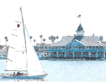 Balboa Pavilion - Canvas Art - Newport Beach