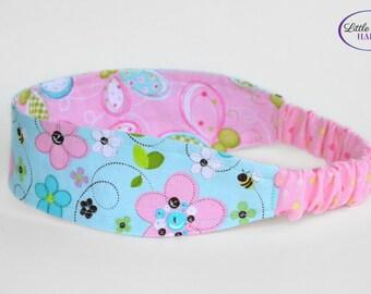 Fabric Reversible Headband Bees Butterflies Flowers