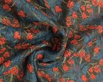 Vintage 100% Silk Chiffon Dita Print