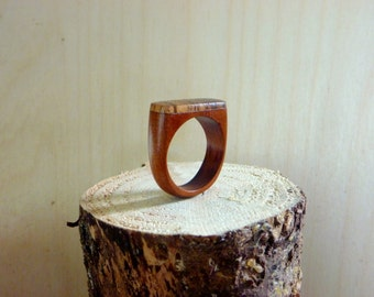 Cherry and Zebrawood Wooden Ring Size 11