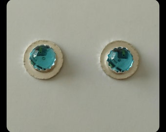 Sterling silver and blue topaz stud earrings