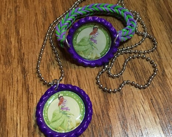 Disney Princess Tiana Bottle Cap Jewelry Set