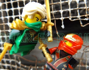 LEGO Ninjago Green Ninja VS.  Red Ninja Original Photograph