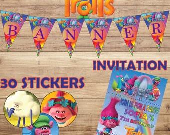 "Trolls  Party Set Banner  HAPPY BIRTHDAY A4 + Personalized Invitation A5 + 30 Stickers 1"" ans 1.5"" Digital A4 (8.5""x11"") Disney"