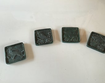 Songbird coasters  set of 4 inscribed with poetry