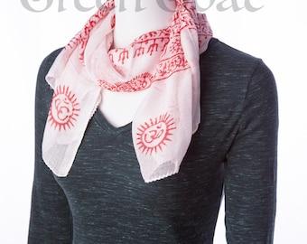om yoga meditation scarf white & red