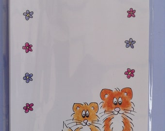 Maisy Cat Writing Set 10 Sheets - Flowers