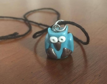 Polymer Clay Blue Owl Necklace