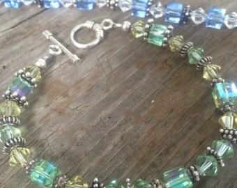 Swarvoski Crystal & Bali Silver Bracelet choose either green or blue