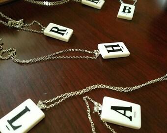 Vintage Glass Game Tile Necklace