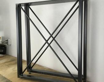 "Metal Table Legs ""X"" U-Frame (1""x2"") Set of 2"