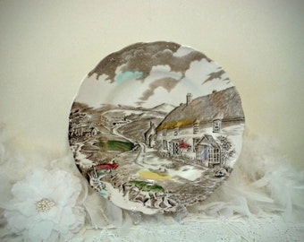 """Vintage Decorative plate """" Quiet Day"""" English Country scene plate with thatched roof cottage - W H Grindley, Staffordshire England 1950's"""