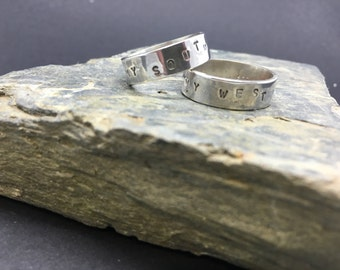Partners rings - My North, My South, My East and West in solid sterling silver