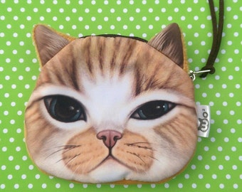 SALE Gorgeous ginger cat face purse cat coin purse cat purse cute cat purse