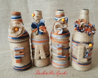 Twine Wrapped Bottles Fall Autumn Home Decor Unique Birthday Gift Eco Friendly Gift Bottle Art