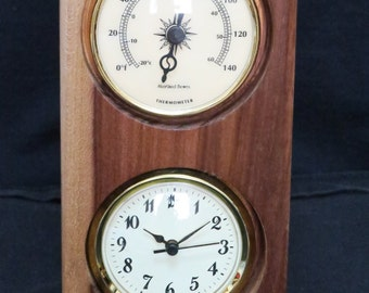 Afata Wood Clock and Thermometer
