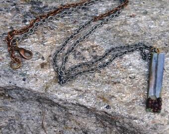 Mens necklace, kyanite,garnet