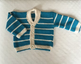 Baby boy's hand knitted cotton cardigan, 3 - 6 months