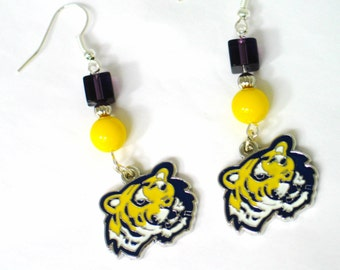 LSU Earrings, LSU Tigers, LSU Tigers Earrings, Tiger Earrings, Tiger Jewelry, Lousiana State University, College Earrings, College Gift
