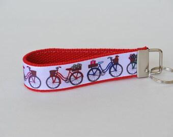 Bicycle Key Fob Wristlet Red Lanyard