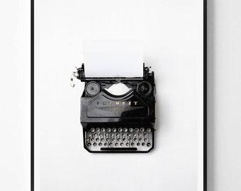 Modern Minimalist Print, Typewriter photo, Vintage, Black White photo, Printable art, Instant Download, Minimalist Print, Scandinavian print