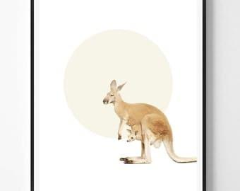 Kangaroo Print, Kangaroo Wall Art, Australian, Animal print, Minimal, Nursery art, Kids, Minimal Print, Scandinavian Printable Art, Modern