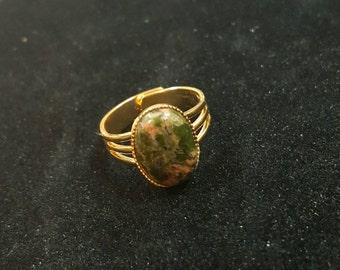 Coral & Green Unakite Ring #1042