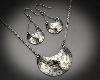 Fallen Leaves - Sterling Silver necklace/earring set