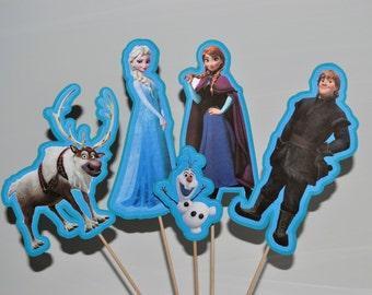 Disney Frozen Set of 5 Centerpiece Picks (Double-Sided)