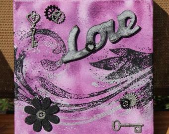 Love Mixed Media Art on Canvas
