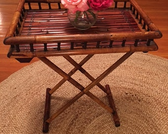 Vintage Bamboo Side Table- Night Stand- Foldable End Table