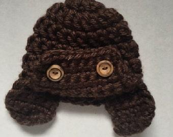 Crocheted Baby Aviator Hat, Newborn Photo Prop, Pilot Hat