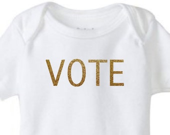 VOTE Gold Glitter Baby Bodysuit - Election 2016