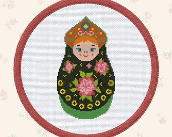 Matreshka cross stitch pattern, matryoshka folk art embroidery pattern russian nesting doll cross stitch pdf matriochka vintage russian doll