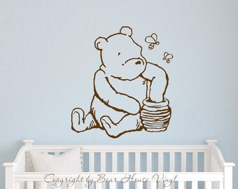 Classic Winnie the Pooh inspired vinyl wall decal