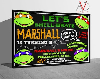 tmnt invitation  etsy, Birthday invitations