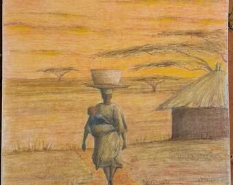 African woman walking on path
