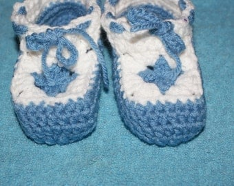blue and white booties 3-6 months