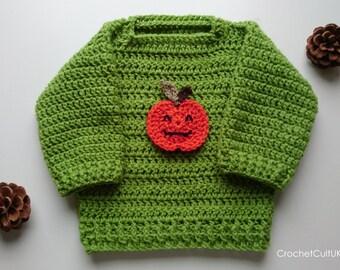Baby Pumpkin Sweater/  Baby Halloween Sweater/ Pumpkin Jumper/ Baby Jumper/ Baby Sweater/ Baby Holiday Sweater